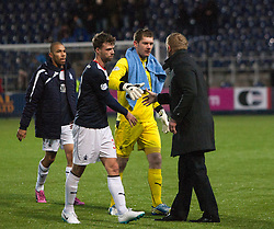 Falkirk's manager Gary Holt with keeper Michael McGovern at the end of the game.<br /> Falkirk 2 v 0 Dundee, Scottish Championship game at The Falkirk Stadium.<br /> © Michael Schofield.