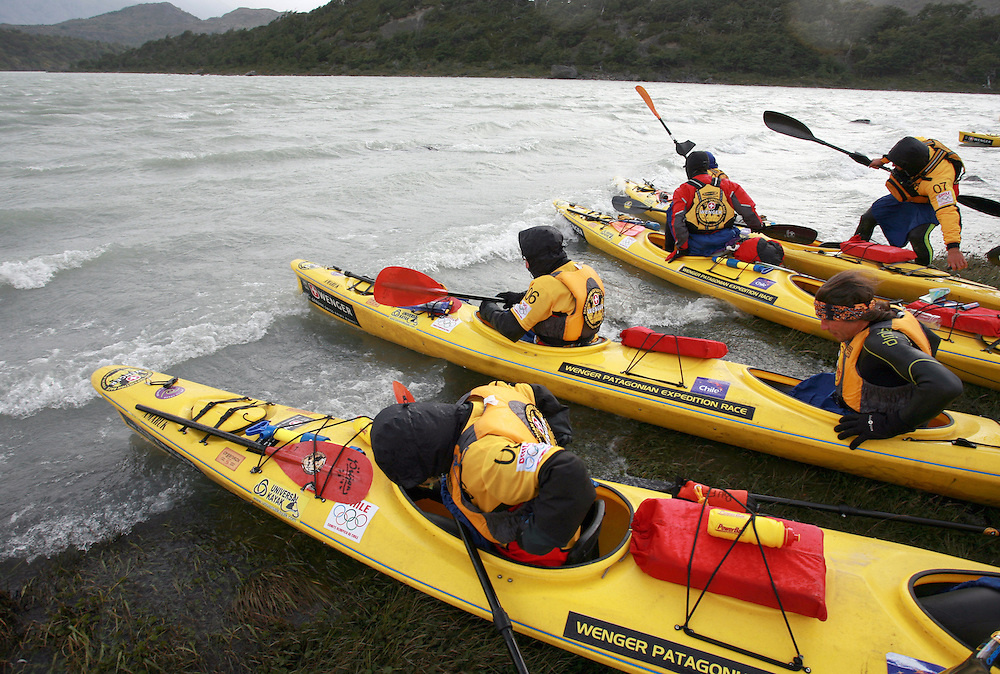The start of the 2009 Wenger Patagonia Expedition Race, sea Kayaking on the Lago Grey in Patagonia, Chile, South America.Permission must be sought before use of this image..Alex Ekins .0114 2630277.07901883 994