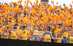 Sep 14, 2019; Morgantown, WV, USA; West Virginia Mountaineers fans cheer during the first quarter against the North Carolina State Wolfpack at Mountaineer Field at Milan Puskar Stadium. Mandatory Credit: Ben Queen-USA TODAY Sports