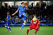 Peterborough Utd defender Rhys Bennett (16) clears this ball during the EFL Sky Bet League 1 match between Peterborough United and Scunthorpe United at London Road, Peterborough, England on 1 January 2019.