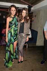 Left to right, ROSANNA FALCONER and SARAH ANN MACKLIN at the launch of Geisha at Ramusake hosted by Piers Adam and Marc Burton at Ramusake, 92B Old Brompton Road, London on 11th June 2015.
