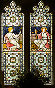 Stained glass window depicting Faith and Hope, designed by Henry Holiday 1880s, Campsea Ash church, Suffolk, England, UK