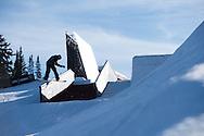 Sebastien Toutant during Snowboard Slopestyle Practice during 2015 X Games Aspen at Buttermilk Mountain in Aspen, CO. ©Brett Wilhelm/ESPN