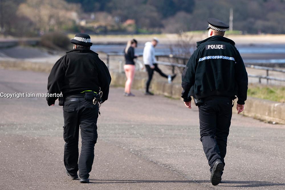 Edinburgh, Scotland, UK. 31 March, 2020. Police patrol public parks and walking areas to enforce the coronavirus lockdown regulations about being outdoor. Police patrol Marine Drive.  Iain Masterton/Alamy Live News