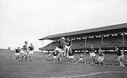 GAA All Ireland Senior Football final Kerry v. Galway 27th September 1964 at Croke Park..Galway backs provail in this this jump for possession near their own goalmouth ...*** Local Caption *** It is important to note that under the COPYRIGHT AND RELATED RIGHTS ACT 2000 the copyright of these photographs are the property of the photographer and they cannot be copied, scanned, reproduced or electronically stored in any form whatsoever without the written permission of the photographer