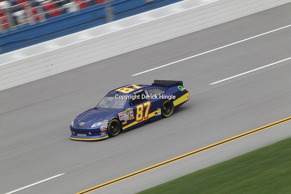 April 15, 2011; Talladega, AL, USA; NASCAR Sprint Cup Series driver Joe Nemecheck (87) during practice for the Aarons 499 at Talladega Superspeedway.   Mandatory Credit: Derick E. Hingle