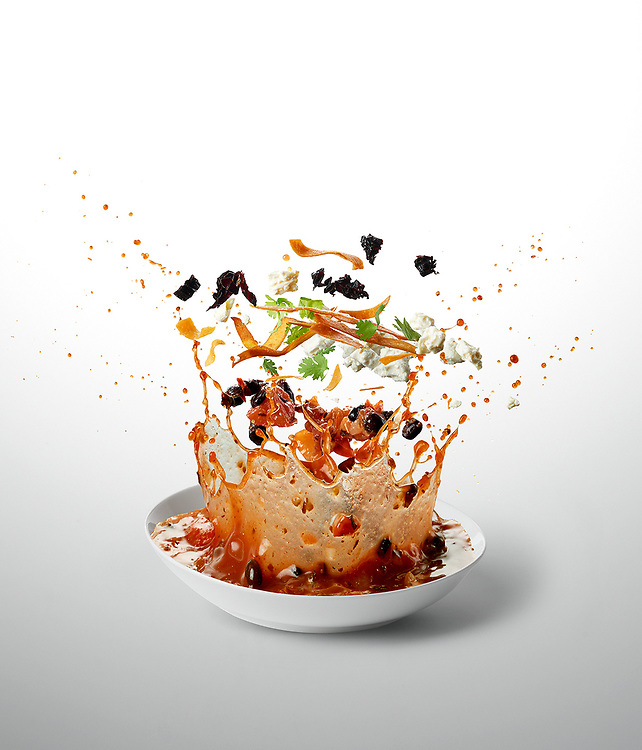 Black Bean Sopa Azteca<br /> - Ten-A-Day is series created for Men's Health magazine promoting healthy recipes. The levitating images shot dynamic approach to food phoography.