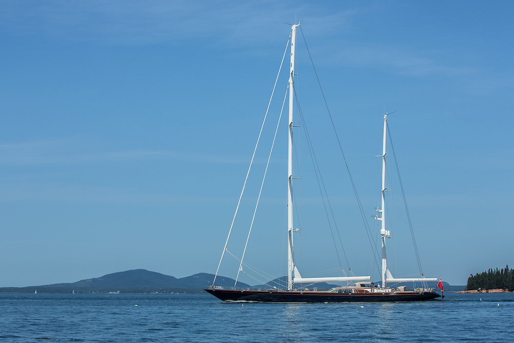 Blue Hill Bay, ME - 12 August 2014. Ketch Asolare (ex Scheherazade) motoring in Blue Hill Bay. Designed by Bruce King and built by Hodgdon Yachts in 2003, Asolare, at 155 l.o.a., was the largest cold-molded yacht built at the time.