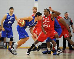 Bristol Flyers' Doug Herring defends Durham Wildcats' Ralph Bucci - Photo mandatory by-line: Dougie Allward/JMP - Mobile: 07966 386802 - 18/10/2014 - SPORT - Basketball - Bristol - SGS Wise Campus - Bristol Flyers v Durham Wildcats - British Basketball League