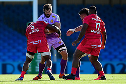 Don Armand of Exeter Chiefs is challenged by Joe Tekori of Toulouse - Mandatory by-line: Ryan Hiscott/JMP - 26/09/2020 - RUGBY - Sandy Park - Exeter, England - Exeter Chiefs v Toulouse - Heineken Champions Cup Semi Final