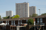 Social housing estate high rise towers block in Highgate on 15th June 2021 in Birmingham, United Kingdom. Following the Big City Plan of February 2008, Highgate is now a district of Birmingham City Centre, yet is a very poor area of housing estates, lacking in investment.