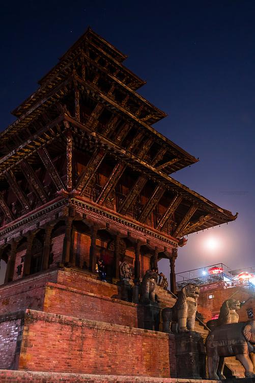 Nyatapola  Pagoda with a full moon in the background, Taumadhi Square, Bhaktapur, Kathmandu Valley, Nepal.
