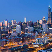 High angle view of Chicago's Loop at dusk from Arrigo Park.