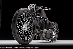 """""""Mephisto"""", a dark root beer brown custom built from a 2003 Harley-Davidson Sportster by Cole Rogers of 138 Cycle Fabrication in Springboro, OH. Photographed by Michael Lichter during the Easyriders Bike Show in Columbus, OH on February 18, 2016. ©2016 Michael Lichter."""