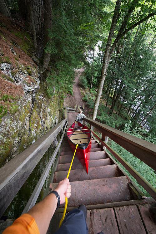 Portaging around the Upper Falls of the Tahquamenon River.