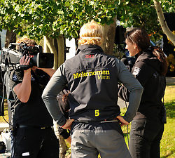 Hannah White filming at the St Moritz Race. Photo:Chris Davies/WMRT