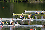 Lucerne. Switzerland. GBR LM2X, Bow Richard CHAMBERS and Peter CHAMBERS move away from the start in their  heat,  at the 2013 FISA WC. III. 10:40:17  Friday  12/07/2013  [Mandatory Credit, Peter Spurrier/ Intersport Images] Lake Rotsee,