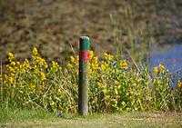 OUDEMIRDUM - groen Rood paaltje. Golfclub Gaasterland ligt in Zuidwest-Friesland en heeft een schitterende 9 holes natuurbaan. COPYRIGHT KOEN SUYK Bal  in gebied, begrensd door ROOD-GROENE palen (Hindernis)<br /> <br /> Verplicht ontwijken (Stand en ligging) MET 1 STRAFSLAG<br /> <br />     No play zones OOK NIET BETREDEN!