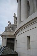 Photograph of statue on the exterior of the Wisconsin State Capitol building, Madison, Wisconsin, USA.