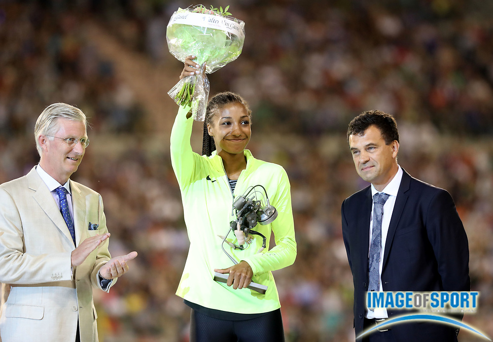 Sep 9, 2016; Brussels, Belgium; Nafissatou Thiam (BEL), center, poses with Belgium king Philippe Lewis (left) and  in the 41st Memorial Van Damme at King Baudouin Stadium. Photo by Jiro Mochiuzki