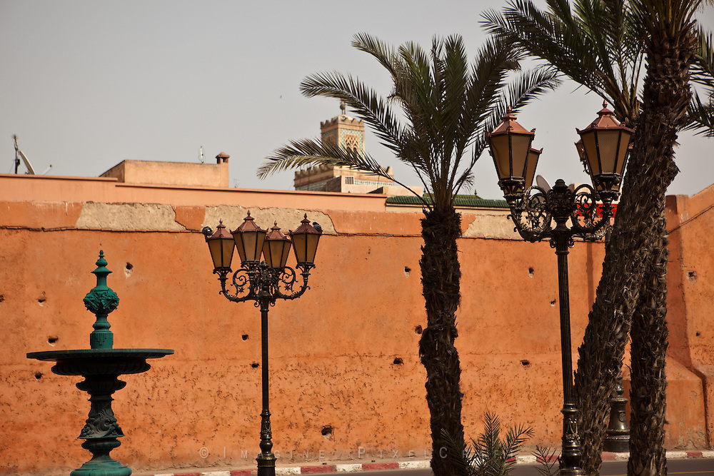The red walls of the Medina of Marrakech and the Koutoubia Mosque