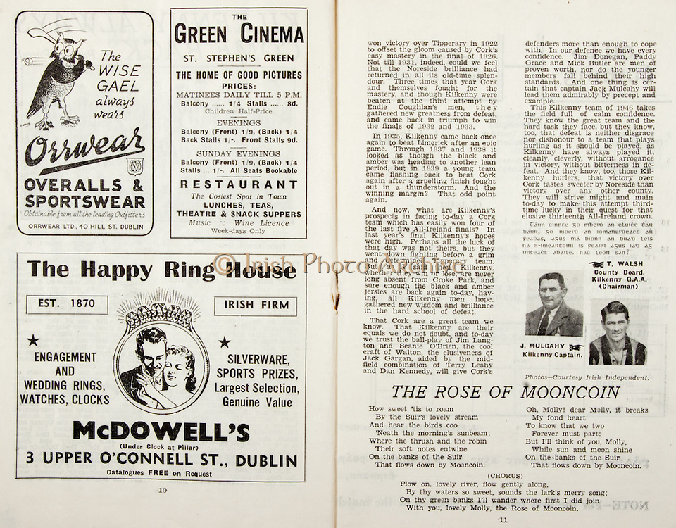 All Ireland Senior Hurling Championship Final,.Brochures,.01.09.1946, 09.01.1946, 1st September 1946, .Cork 7-5, Kilkenny 3-8, .Minor Dublin v Tipperary.Senior Cork v Kilkenny.Croke Park, ..Advertisements, Orrwear Overalls & Sportswear, The Green Cinema St Stephen's Green, McDowell's The Happy Ring House, ..Poems, The Rose of Mooncoin,