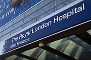 Main entrance to the Royal London Hospital in East London, England, United Kingdom. Britains biggest new NHS hospital The Royal London and Barts state-of-the-art new building which will sit behind the historic front block overlooking the Whitechapel.