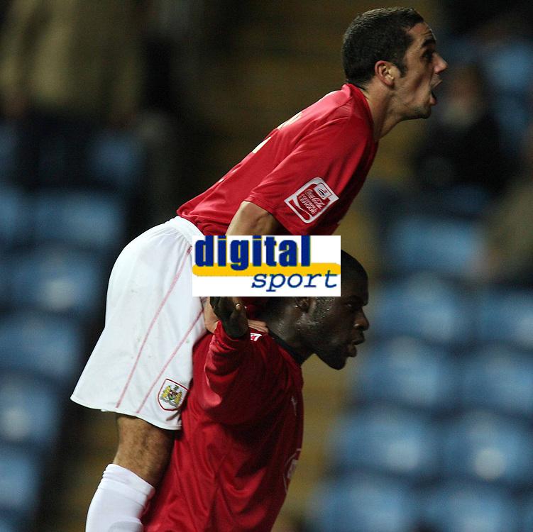 Photo: Rich Eaton.<br /> <br /> Coventry City v Bristol City. The FA Cup. 16/01/2007. Scott Murray top and Enoch Showunmi celebrate Showunmi's goal to make the score 2-0 in the second half