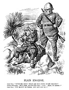 """Plain English. John Bull. """"Scuse me, m,soo! What are you doing on my ground?"""" French explorer. """"Mon cher, je n'y suis pas."""" (Aside.) """"Mais j'y reste!!"""" John Bull. """"You mayn't be there. But out you go!!"""""""
