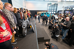 Radikal Choppers' customizer Andrea Radaelli of Italy on stage with judges and MBE staff after winning the 2020 MBE King of Verona award in the MBE award finals at Motor Bike Expo (MBE) bike show. Verona, Italy. Friday, January 17, 2020. Photography ©2020 Michael Lichter.