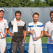 August 24, 2016, New Haven, Connecticut: <br /> Runners up Andrei Daescu and Costin Paval and winners Nicolas Meister and Eric Quigley pose for a photograph with the trophies after the US Open National Playoffs men's doubles finals on Day 6 of the 2016 Connecticut Open at the Yale University Tennis Center on Wednesday, August  24, 2016 in New Haven, Connecticut. <br /> (Photo by Billie Weiss/Connecticut Open)