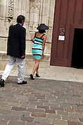 couple entering the Cathedrale Saint Etienne in Toulouse France