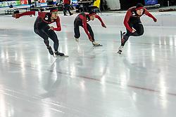 10-12-2016 NED: ISU World Cup Speed Skating, Heerenveen<br /> Team sprint China J  Xie,  Z  Mu,  F  Yang