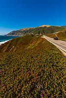 View of the Big Sur coastline between Carmel Highlands and Big Sur, Monterey County, California.