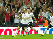 14.08.2013  London, England.         England's Ricky Lambert celebrates scoing the winner   during the International match between England and Scotland,  From Wembley Stadium, London.