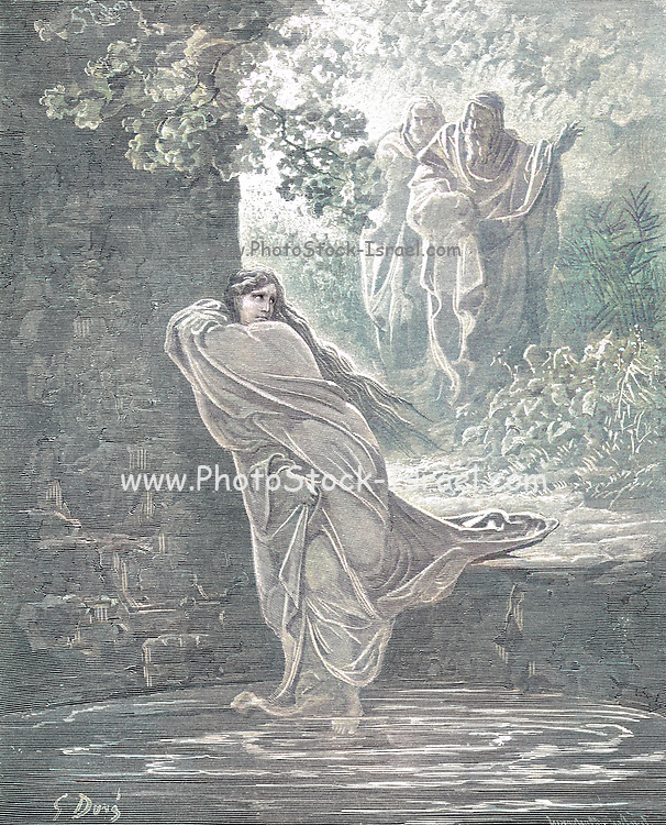 Machine Colourized (AI) Susanna in the Bath The History of Susanna 21 From the book 'Bible Gallery' Illustrated by Gustave Dore with Memoir of Dore and Descriptive Letter-press by Talbot W. Chambers D.D. Published by Cassell & Company Limited in London and simultaneously by Mame in Tours, France in 1866