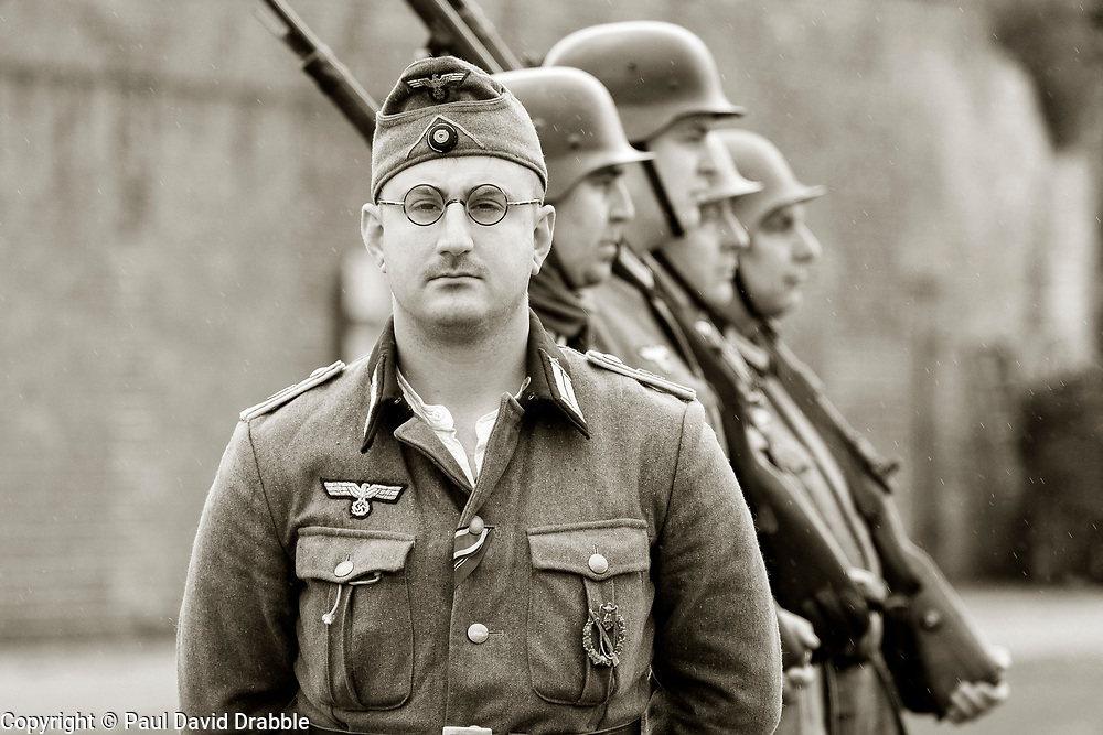 German Officer and German Panzer Grenadiers in the early war M36 uniform carrying Mauser K98   - Nww2A Fort Paull<br /> <br />  Copyright Paul David Drabble<br /> 5th & 6th May 2019<br />  www.pauldaviddrabble.co.uk