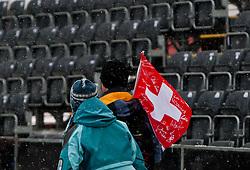 17.03.2011, Pista Silvano Beltrametti, Lenzerheide, SUI, FIS Ski Worldcup, Finale, Lenzerheide, Absage Feature Super-G, im Bild  die beiden Super G-Rennen beim Finale in Lenzerheide wurden aufgrund schlechter Wetterbedigungen abgesagt. zwei schweizer Fans verlassen den Zielbereich //  the two Super G Races in Lenzerheide are cancelled. pictured two Fans of Switzerland leaving the Finish Area during Men´s Downhill, at Pista Silvano Beltrametti, in Lenzerheide, Switzerland, 17/03/2011, EXPA Pictures © 2011, PhotoCredit: EXPA/ J. Feichter
