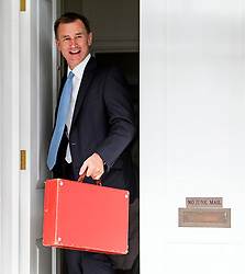 © Licensed to London News Pictures. 10/07/2018. London, UK. Newly appointed Foreign Secretary JEREMY HUNT leaves his London home carrying his ministerial red box. Cabinet resignations by Former Foreign Secretary Boris Johnson and former Brexit secretary David Davis have put pressure on Prime Minister Theresa May over her handling of the Brexit negotiations, with suggestions of a leadership challenge. Photo credit: Ben Cawthra/LNP