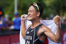 PALEMBANG, Sept. 1, 2018  Furuya Jumpei of Japan competes during Men's Triathlon contest at the 18th Asian Games in Palembang, Indonesia, Sept. 1, 2018. Furuya Jumpei won the gold medal. (Credit Image: © Cheng Min/Xinhua via ZUMA Wire)