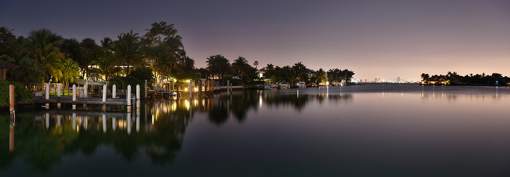 Homes line the canals of Key Biscayne just offshore from Miami, Florida.