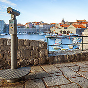 A pay oberservation telescope to view the old city of Dubrovnik, Croatia.<br />