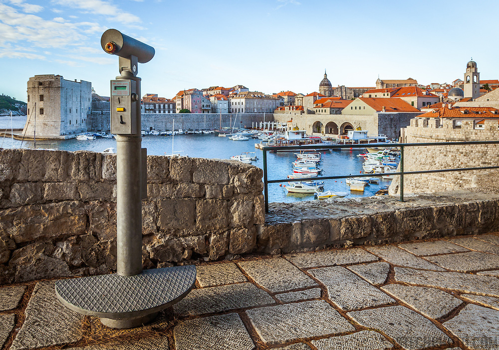 """A pay oberservation telescope to view the old city of Dubrovnik, Croatia.<br /> <br /> Dubrovnik serves as the official setting of """"King's Landing"""" from the popular TV show """"Game of Thrones""""."""
