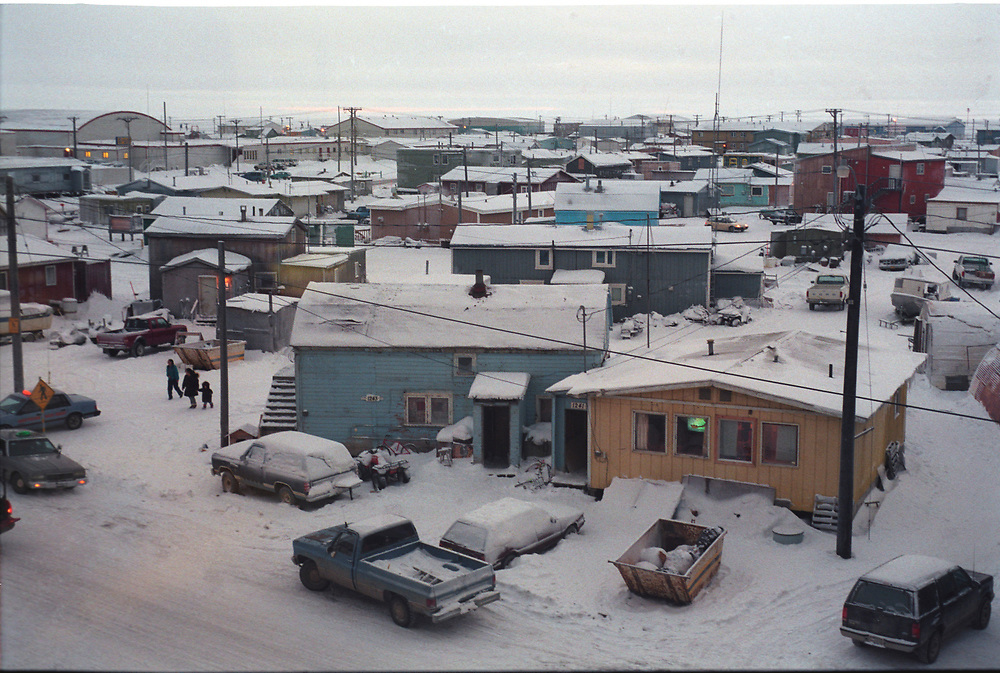 Alaska, Barrow. Last sunset of the year. View from downtown Barrow, on the top of ASRC building.November 18th 1997.