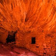 USA, Southwest, Utah, UT, Mule Canyon, Cedar Mesa, Ancient Native American granary wedged into a small niche deep in Mule Canyon on the Cedar Mesa, Utah.