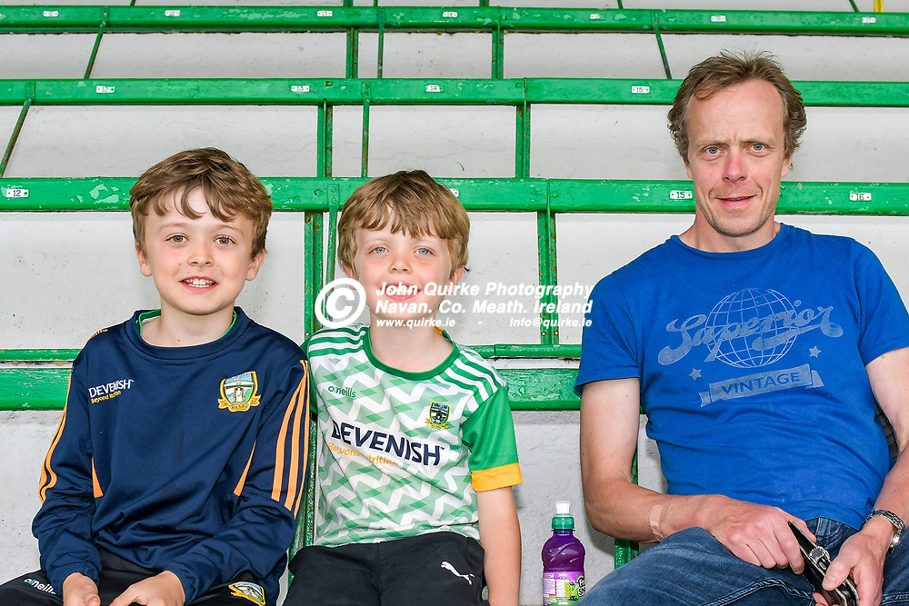 from left: Michael, Cormac and Albert Gallagher, Kilmessan at  the Meath v Kerry,  Joe McDonagh Cup match at Pairc Tailteann, Navan.<br /> <br /> Photo: GERRY SHANAHAN-WWW.QUIRKE.IE<br /> <br /> 10-07-2021