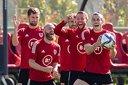 CARDIFF, WALES - Tuesday, September 7, 2021: Wales' captain Gareth Bale (R) with Chris Gunter, Joe Allen, Jonathan Williams and Ben Davies during a training session at the Vale Resort ahead of the FIFA World Cup Qatar 2022 Qualifying Group E match between Wales and Estonia. (Pic by David Rawcliffe/Propaganda)