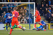 AFC Wimbledon goalkeeper Aaron Ramsdale (35) saving from Millwall attacker Aiden O'Brien (22) during the The FA Cup 5th round match between AFC Wimbledon and Millwall at the Cherry Red Records Stadium, Kingston, England on 16 February 2019.
