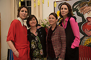 VALERIA NAPOLEONE; LOUISE WILSON; JANE WILSON; STEFANIA PRAMMA;, Stefania Pramma launched her handbag brand PRAMMA  at the Kensington residence of her twin sister, art collector Valeria Napoleone.. London.  29 April 2015