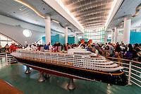 Model of the new Disney Dream cruise ship, Disney Cruise Line terminal (passengers boarding the Disney Dream), Port Canaveral, Florida USA